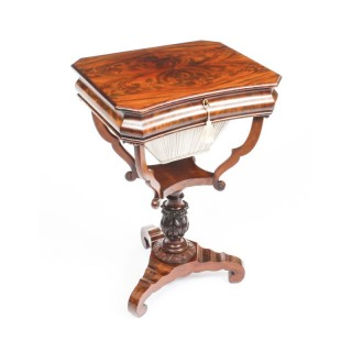 Antique William IV Flame Mahogany Work Table c.1835 19th C