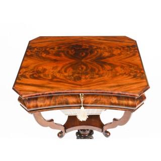 Antique William IV Flame Mahogany Work Table c.1835 19th C