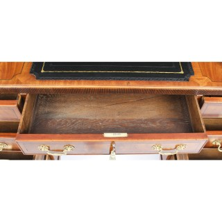 Antique Victorian Caddy Top Mahogany Pedestal Desk C1880 19th Century