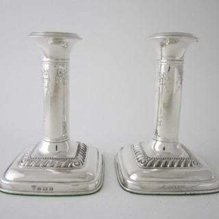 Antique George V Sterling silver candlesticks