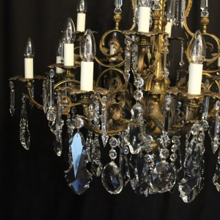 French Bronze & Crystal 16 Light Chandelier