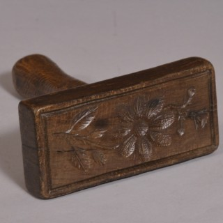 Antique Treen Georgian Beech Biscuit Stamp