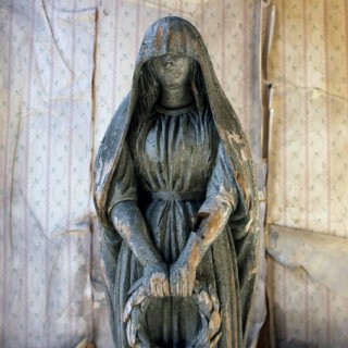 An Early 19thC Finely Carved & Painted Pine Figure of a Lady in Mourning c.1800-30