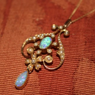 15ct Opal & Seed Pearl Art Nouveau Pendant on a 9ct Gold Chain, Circa 1910