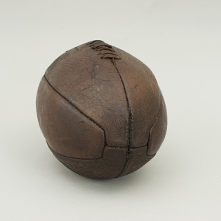 Original vintage leather rugby ball with 6 panels