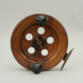 Walnut sea fishing reel 7.75 inches with brass fitting and turned knobs