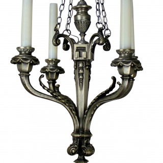 A FRENCH FOUR BRANCH SILVER CHANDELIER