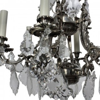 A FRENCH SILVER & CUT GLASS CAGE CHANDELIER