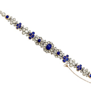 Antique French 6.72ct Sapphire and 7.15ct Diamond 18ct Yellow Gold Bracelet