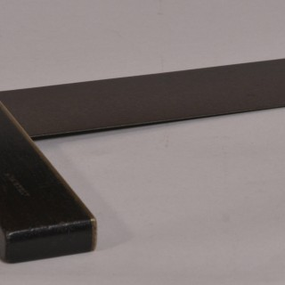 Antique 19th Century Ebony, Steel and Brass Try Square