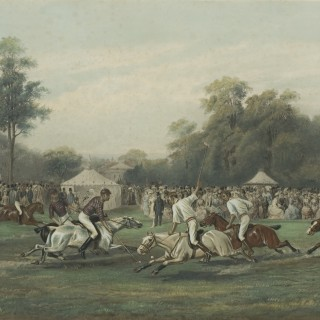 Polo Lithograph, Polo Match at Hurlingham Between the Horse Guards (Blues) and the Monmouthshire Teams