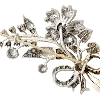 6.38ct Diamond, and 14ct and 10ct Yellow Gold, Silver Set Spray Brooch - Antique Circa 1880