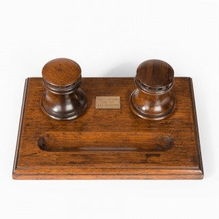 A desk set made of timber from HMS Collingwood (England, c. 1890)
