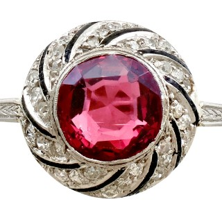 2.30ct Garnet and 0.30ct Diamond, Platinum Dress Ring - Antique Circa 1920