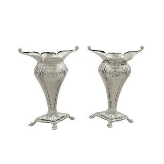 Pair of Antique Edwardian Sterling Silver Vases 1910