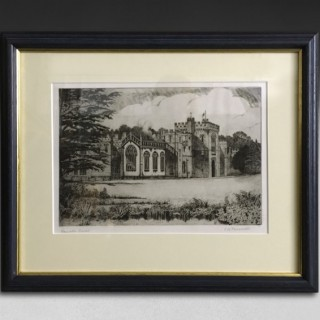 Early 20th century black and white etching, CB Prescott – Hampton Court, Herefordshire