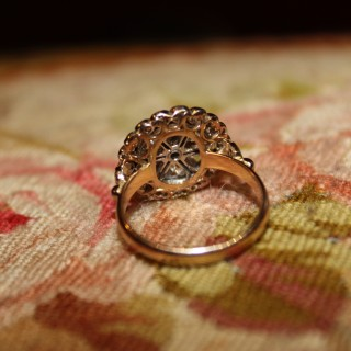 18ct Yellow Gold & Platinum Diamond Cluster Ring, circa 1930