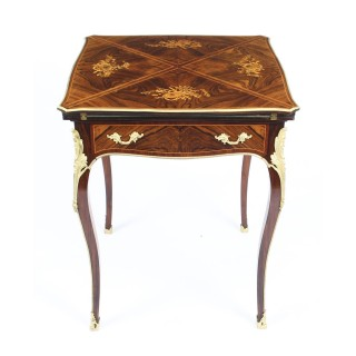 Antique Victorian Ormolu Mounted Marquetry Envelope Card Table c.1880 19th C