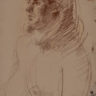 John Sergeant - Model - red chalk drawing
