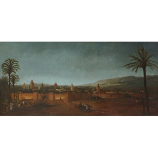 Orientalist oil painting of the Moroccan city of Fez