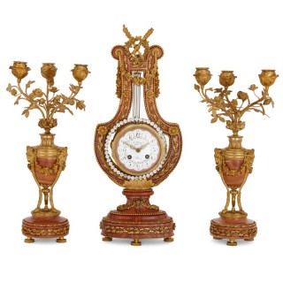 Antique Neoclassical style gilt bronze and marble clock set