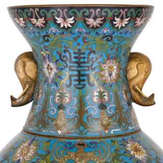 Two late Qing Dynasty cloisonné enamel and gilt bronze vases