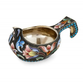 Silver-gilt and cloisonné enamel Russian Kovsh by Semenova