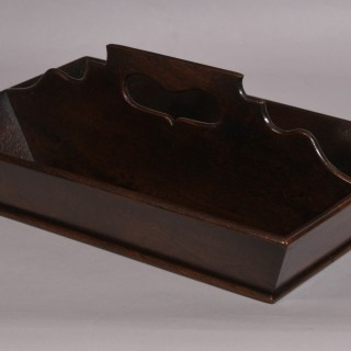Antique Treen 18th Century Mahogany Two Division Cutlery Tray