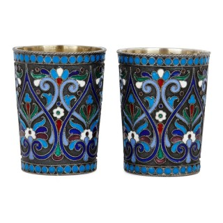 Two cloisonné enamel and silver Russian drinking cups