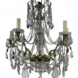 A 19TH CENTURY ORMOLU & CUT GLASS SIGNED BACCARAT CHANDELIER