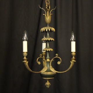 French Gilded Bronze Empire 3 Light Chandelier