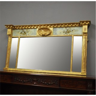 Regency Overmantel Mirror with Decorative Frieze