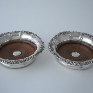 Antique Victorian Sterling silver wine coasters