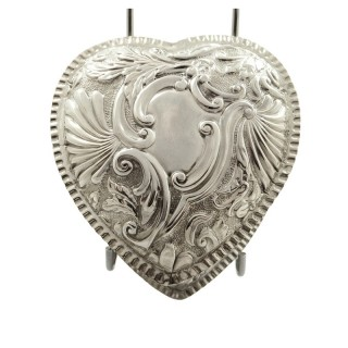 Antique Victorian Sterling Silver Heart Trinket Box 1890