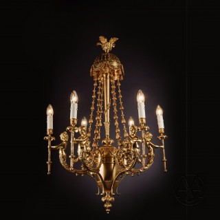 A Fine Gilt-Bronze Figural Six-Light Figural Chandelier