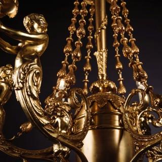 A Fine Gilt-Bronze Figural Six-Light Figural Chandelier