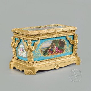 A Fine Louis XV Style Gilt-Bronze and Sèvres Style Porcelain Mounted Casket