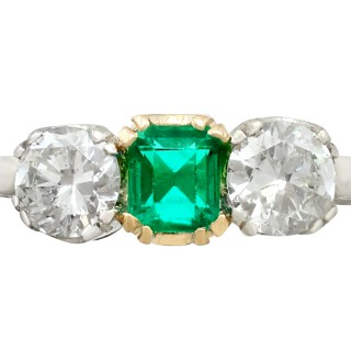 0.34ct Emerald & 0.90ct Diamond, 14ct White Gold Trilogy Ring - Antique Circa 1930