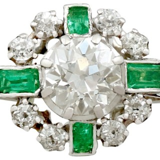 2.06ct Diamond and 0.46ct Emerald, 18ct White Gold Dress Ring - Vintage French Circa 1950