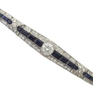 2.30 ct Sapphire & 3.67 ct Diamond, 18 ct White Gold Bracelet - Art Deco - Circa 1940