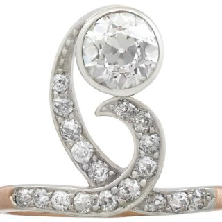 1.60 ct Diamond and 12 ct Yellow Gold Dress Ring - Antique Circa 1900