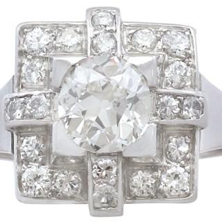 1.53 ct Diamond and Platinum Dress Ring - Art Deco - Vintage French Circa 1940