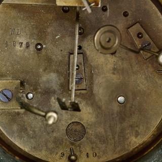 Antique French gilt bronze and malachite clock set