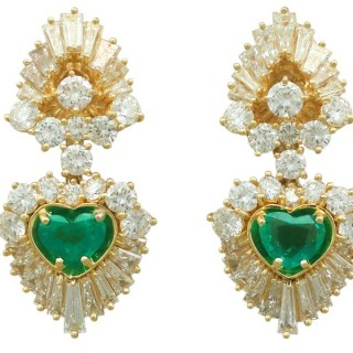 2.48 ct Emerald and 7.05 ct Diamond, 18 ct Yellow Gold Clip On Earrings - Vintage Circa 1990