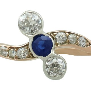 0.22 ct Sapphire and 0.62 ct Diamond, 14 ct Yellow Gold Dress Ring - Antique Circa 1920