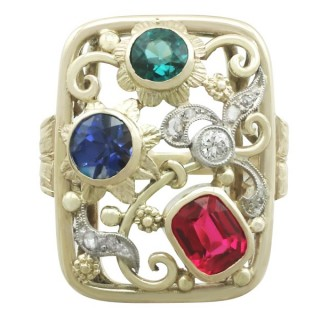 Synthetic Ruby and Sapphire, 0.48 ct Zircon and 0.10 ct Diamond, 14 ct Yellow Gold Dress Ring - Vintage Circa 1940