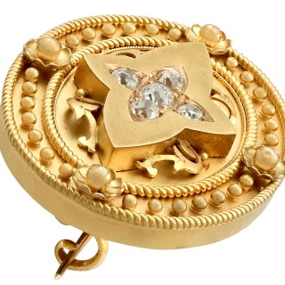 0.88 ct Diamond and 15 ct Yellow Gold Brooch / Locket - Antique Victorian