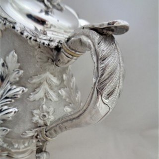 Fine large armorial William IV silver coffee pot London 1836 Burrows and Pierce