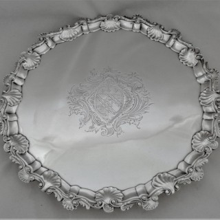 Good quality armorial George II silver salver London 1754 Richard Rew