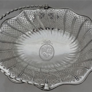 Good  quality armorial George III silver basket London 1773 William Plummer